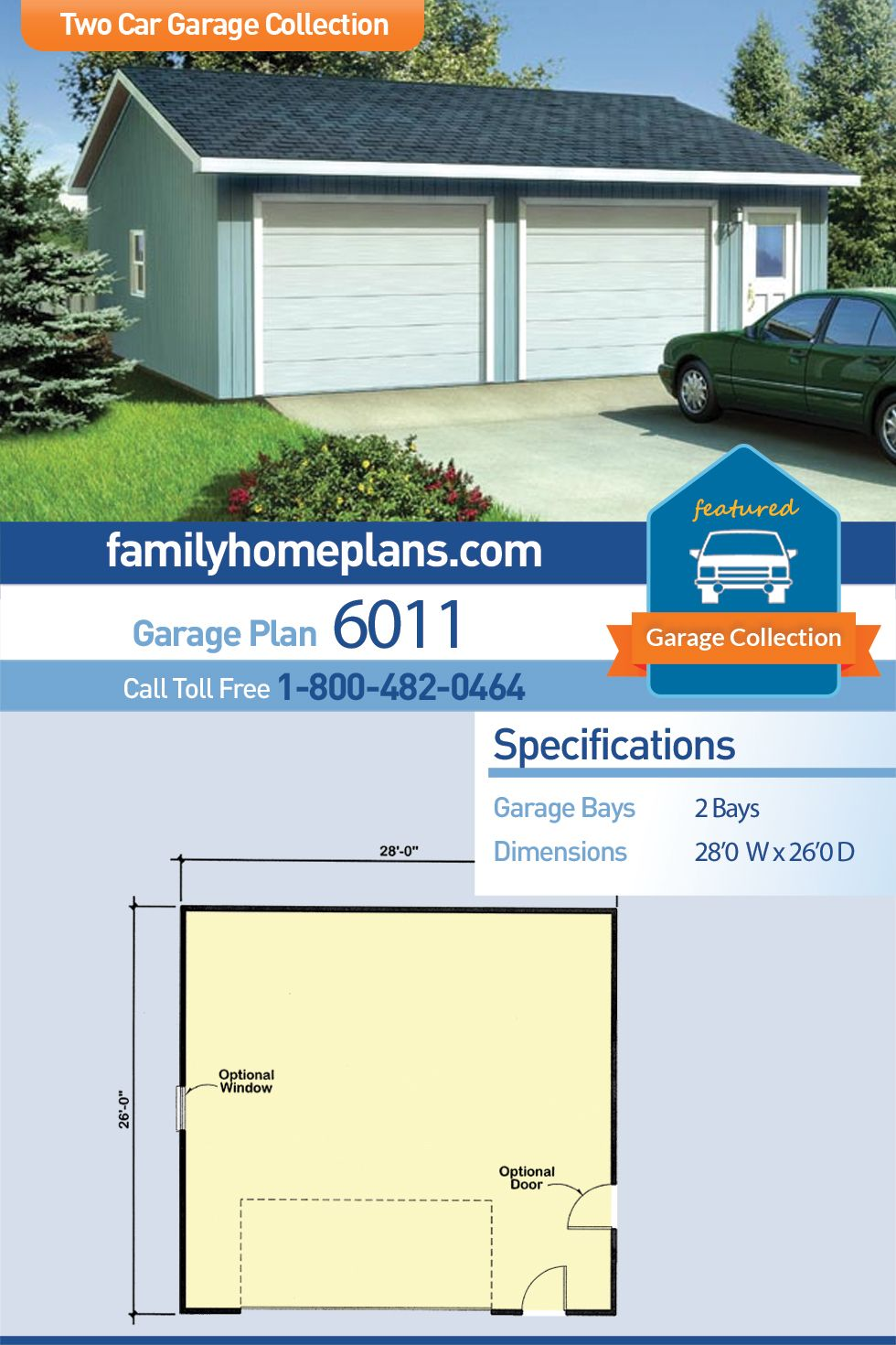 Traditional Style 2 Car Garage Plan Number 6011 Backyard Garage Garage Plan Garage Building Plans