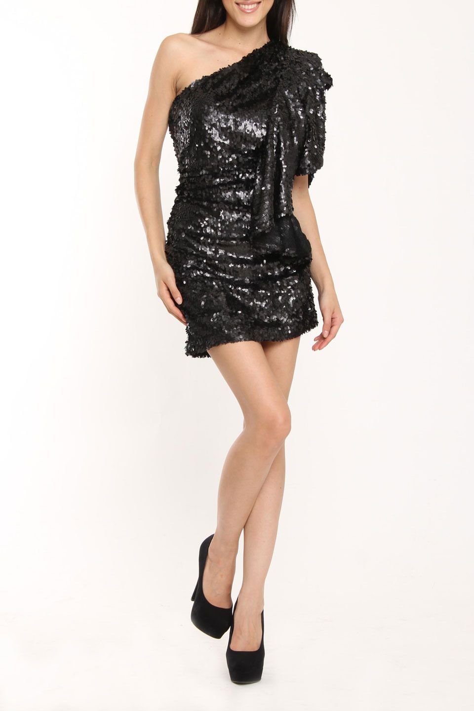 Issue Ny Sequin One Shoulder Ruffle Dress In Black Beyond The Rack