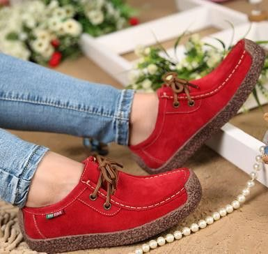 Women Genuine Leather Handsewn Cowhide Suede Loafer Shoes