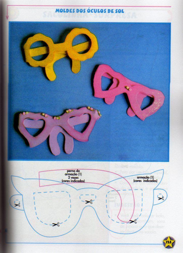89104144e Eu Amo Artesanato: Óculos com molde Lembrancinha Infantil, Projetos Em  Feltro, Artesanato Criativo