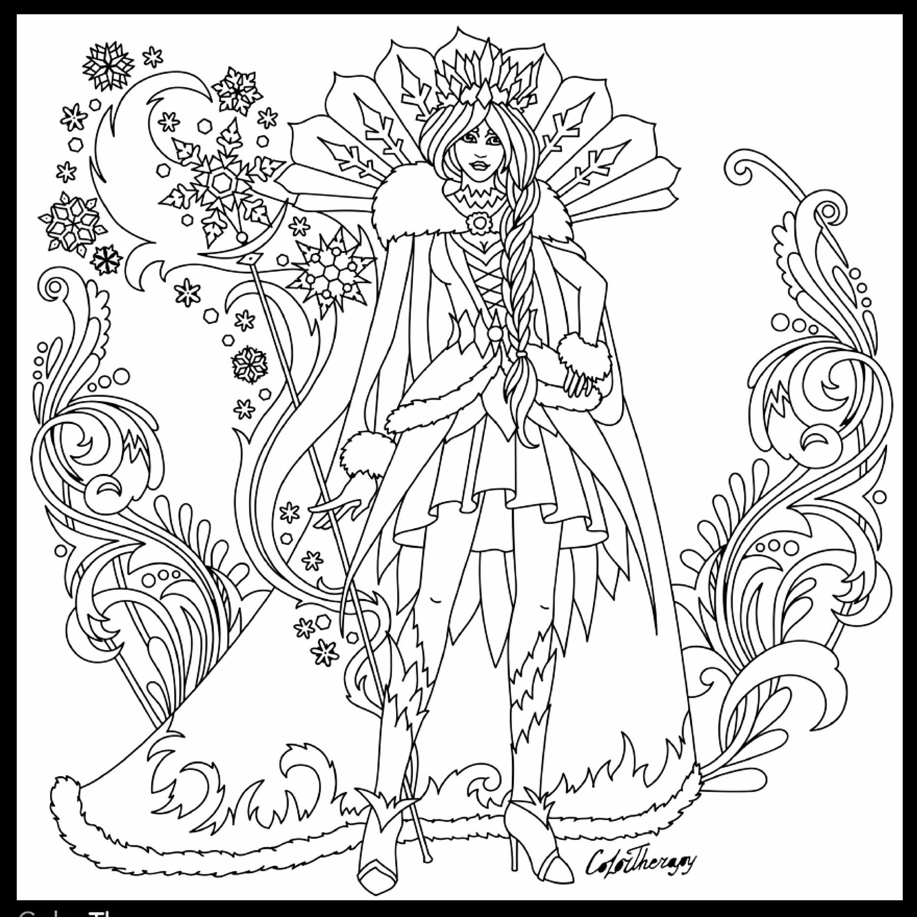Adult Coloring Page Fairy Queen Flower Fairy Coloring Page Print
