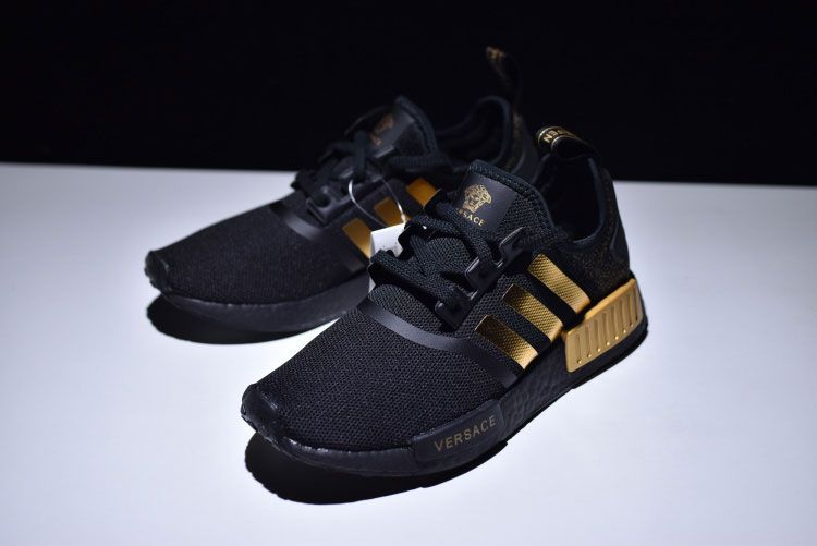 e051fccf8c Adidas nmd r1 x Versace boost sneakers men's running shoes core black gold