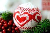Photo of Christbaumschmuck, gestrickte Weihnachtskugel, Feiertagsdekor, Weihnachtskugelverzierung …