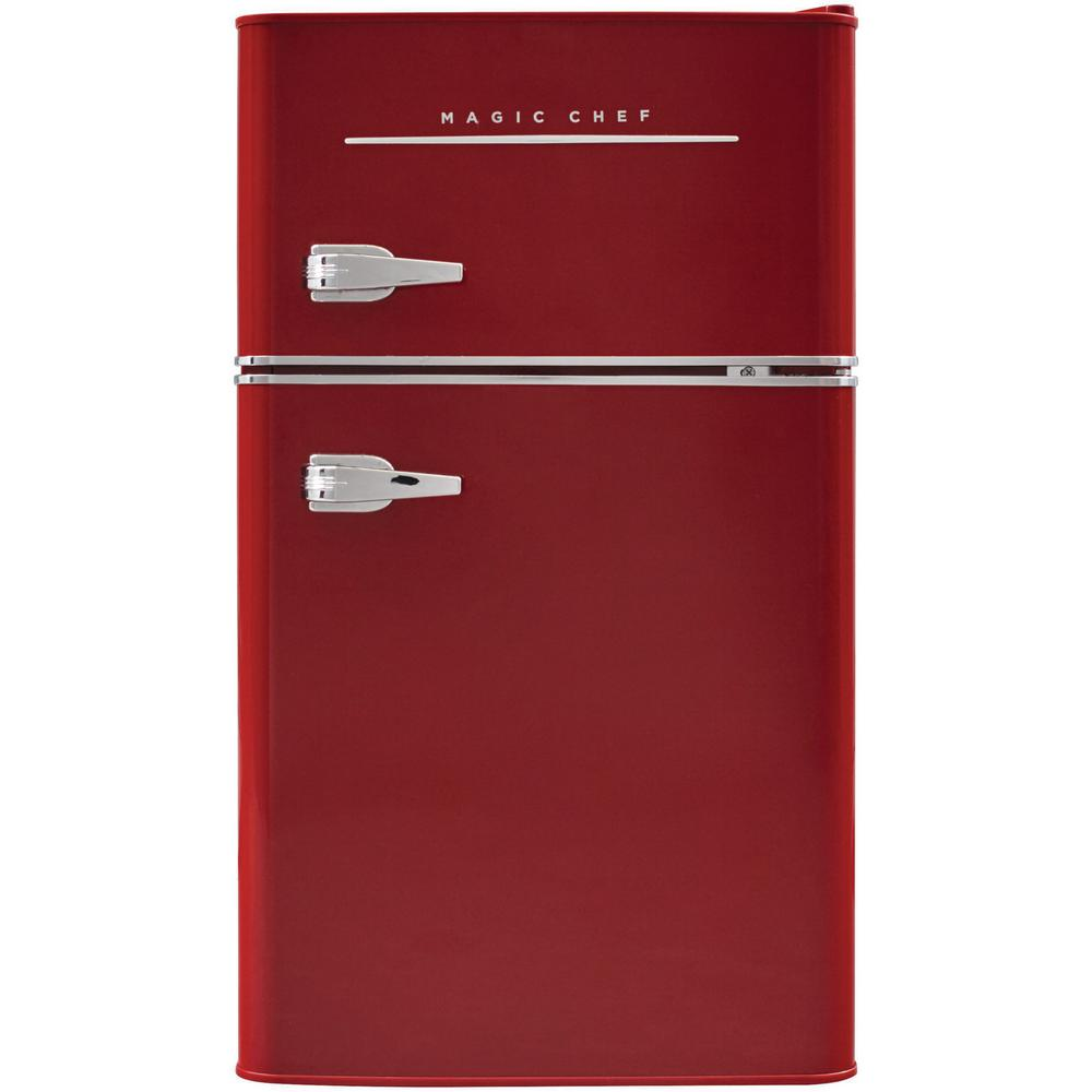 Magic Chef Retro 3 2 Cu Ft 2 Door Mini Fridge In Red Hmcr320re The Home Depot In 2020 Magic Chef Mini Fridge Compact Fridge