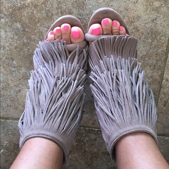 Taupe fringe heels Tried on in house but still brand new Kohls  Shoes Heels