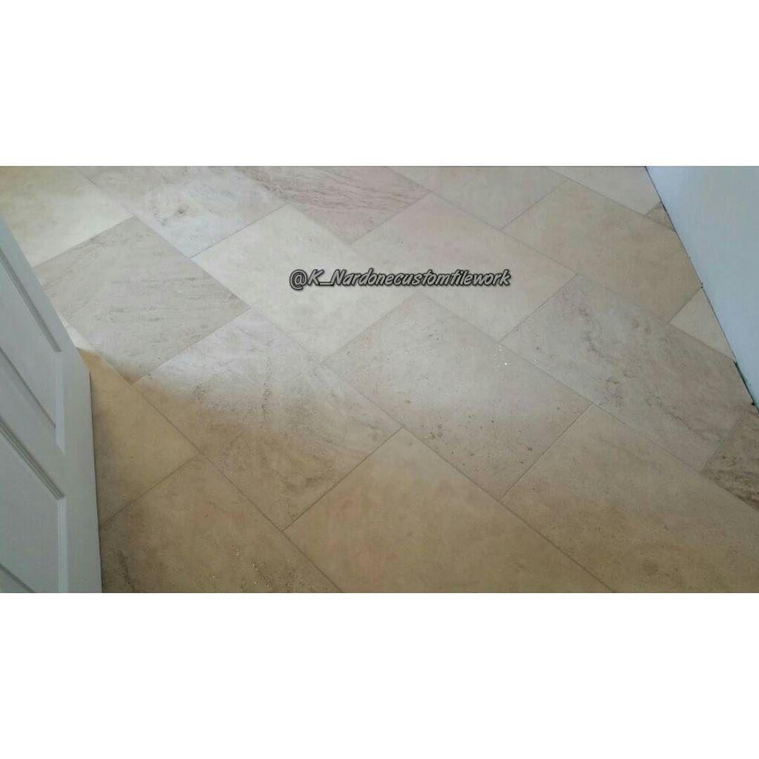 """16"""" x 24"""" Travertine floor on a diagonal brick joint  #masterofmytrade #qualityoverquantity #tileartist #custommeanscustom #tilerspride #tiling #tiler #tile #tilework #tilesetter #tilelove #remodel #travertinetile #travertine #homeimprovement #interior #mastertilesetter #tiledesign #interiordesign #designporn #precisiontilework #customtile #remodeling  #construction  #interceramic #flatandlevel  #k_nardonecustomtilework by k_nardonecustomtilework"""