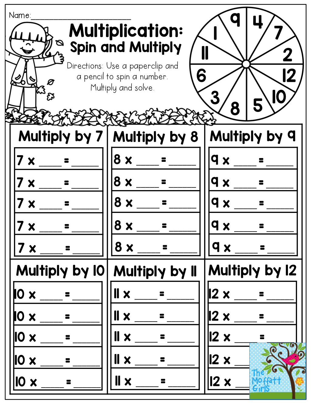 Multiplication Spin And Multiply 7 12 Tons Of