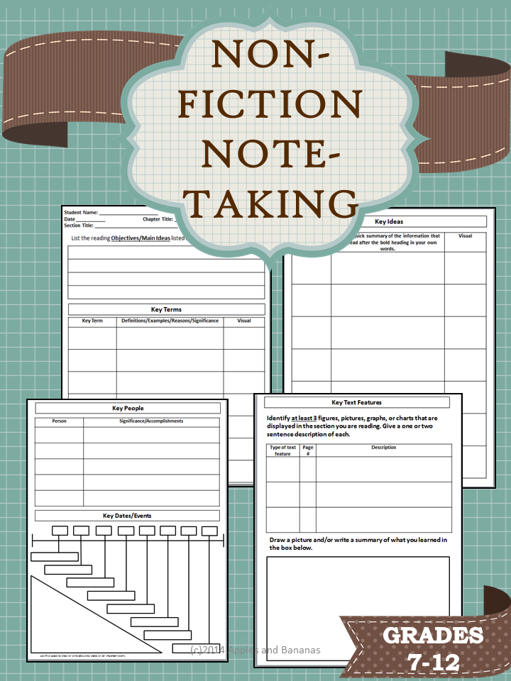 4 Page Non Fiction Note Taking Template For Middle And High School Students To Use With Any Content Area Textbook Ebook When Cornell Notes Just Aren T