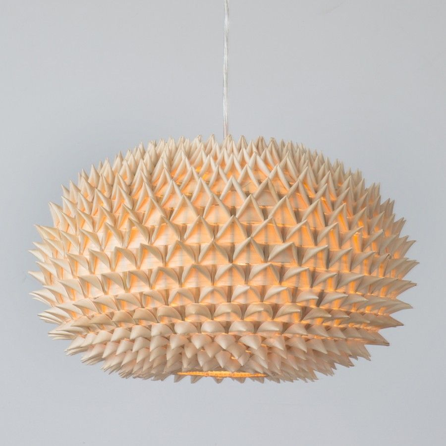 Living room cool natural wood veneer lampshade spike design oak living room cool natural wood veneer lampshade spike design oak wood material pendant ceiling light modern mozeypictures Images