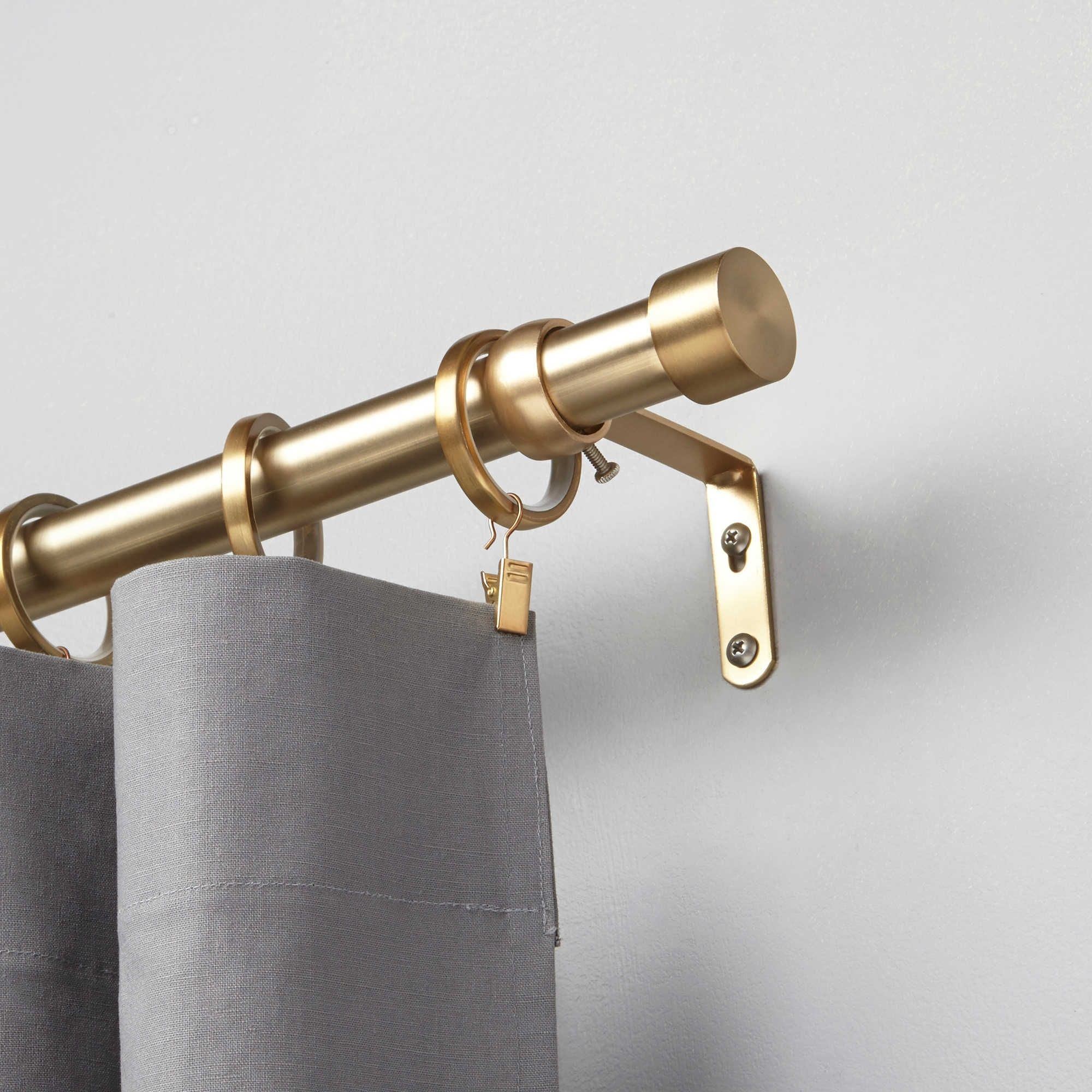 Curtains Double Curtain Rods Lowes In Brass Finish For Home For
