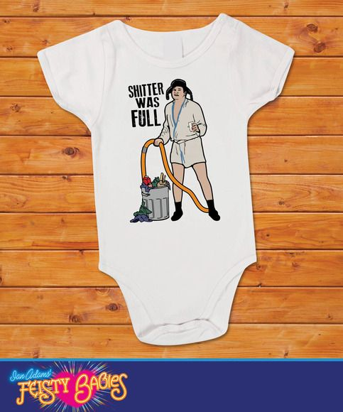 Shitter was full onesie by Feistybabies on Storenvy $13.99 Censored version (pooper was full) is available upon request. #onesie #feistybabies #nationallampoon #christmasvacation #christmas #baby #nationallampoonschristmasvacation