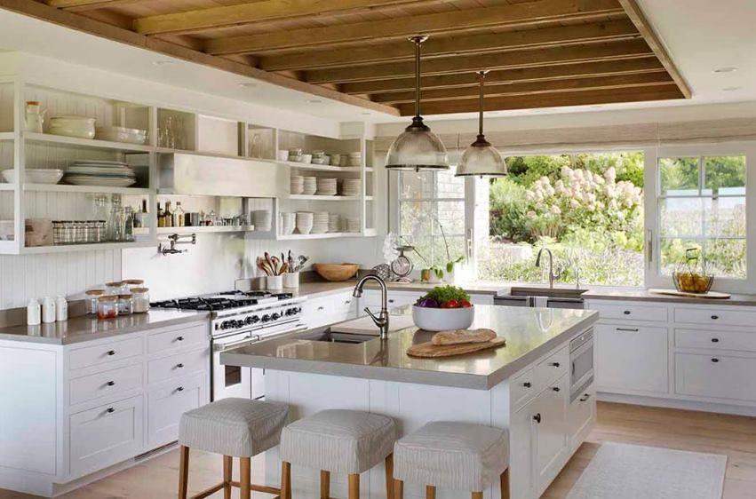 Beach Barn House Style Home Tour Modern Kitchen Furniture Concrete Countertops Kitchen Kitchen Cabinets Decor