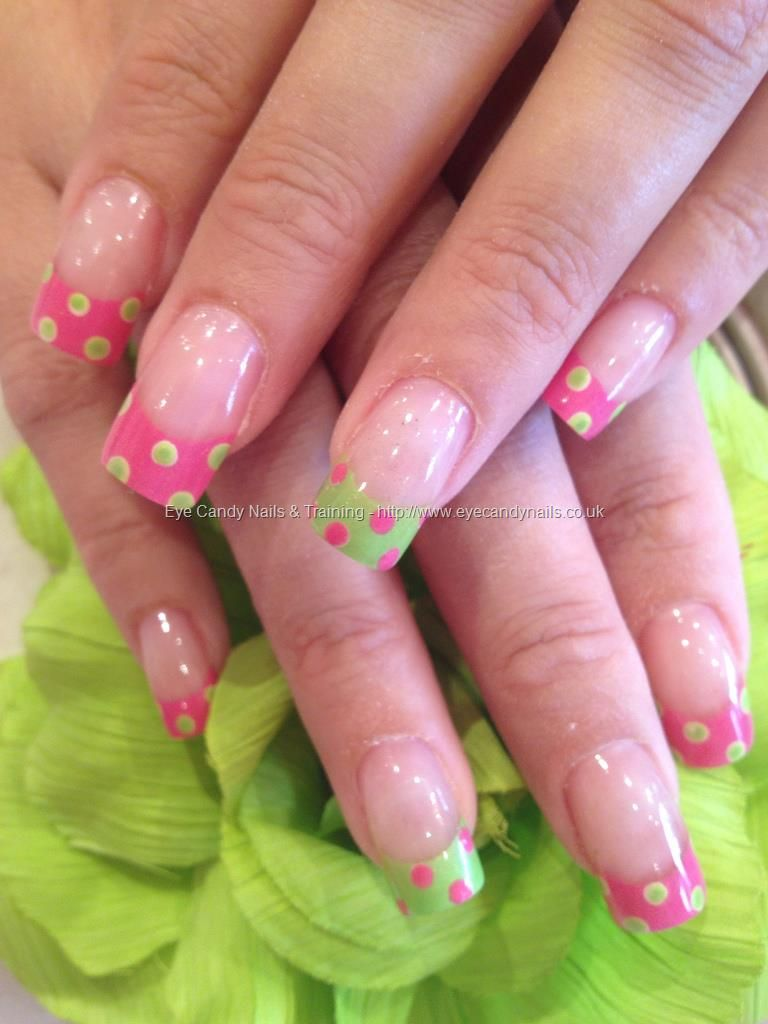 Eye candy nails training nails gallery french tips with nail lime green and pink polka dot nail art on acrylic overlays id like to do all but one nail in the pink and the ring finger in the lime green with the prinsesfo Image collections