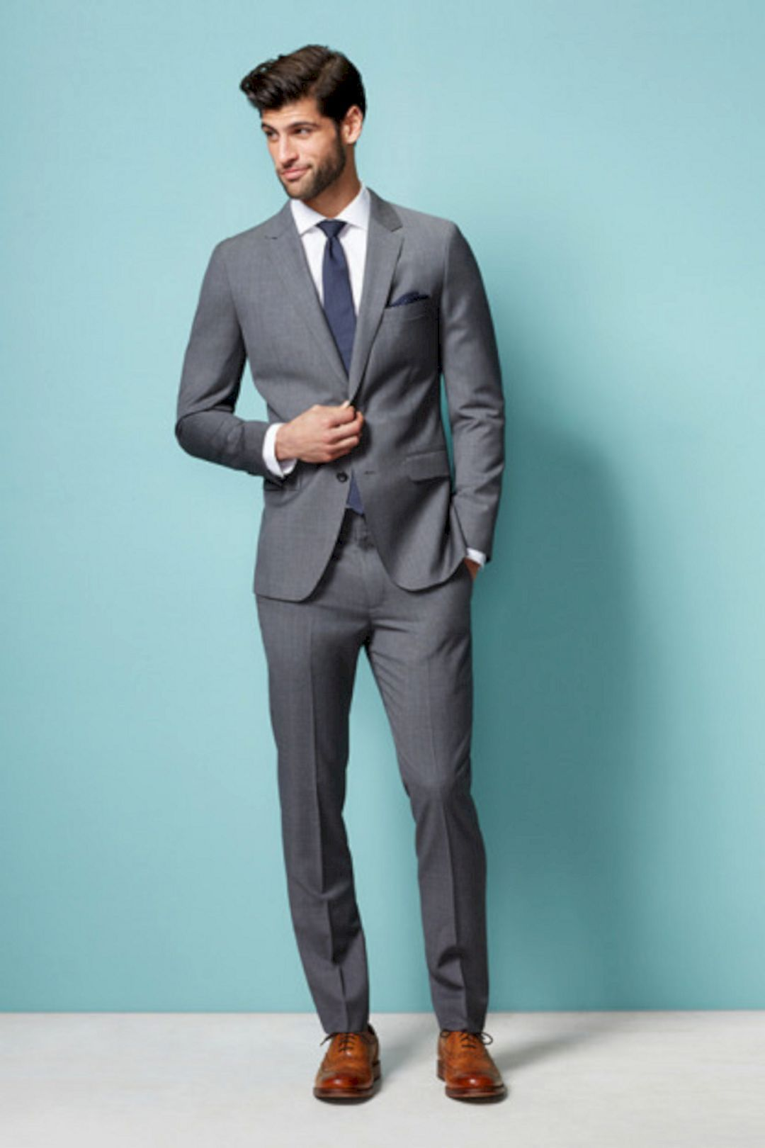 Modern Grey Suit Brown Shoes Wedding Inspiration - All Wedding ...