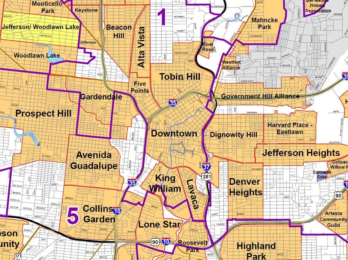 san antonio neighborhoods map San Antonio Neighborhood Map Downtown Midtown Downtown The san antonio neighborhoods map
