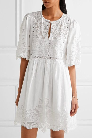 Sea Crochet And Tulle Trimmed Cotton Poplin Mini Dress Hot Summer Dresses Mini Dress White Mini Dress
