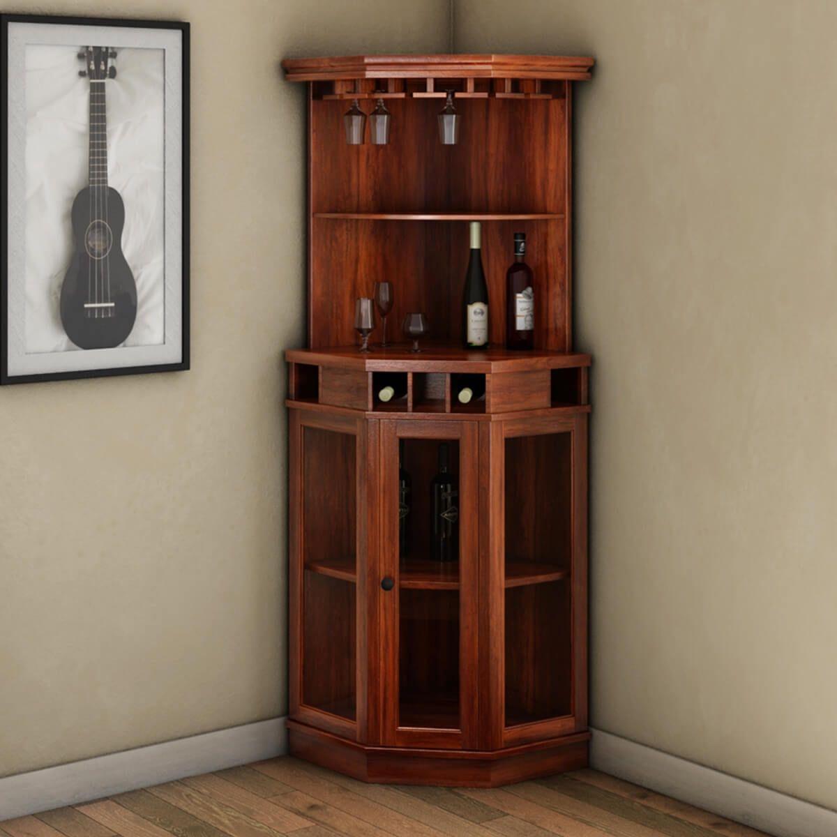 Solid Wood Corner Liquor Display Cabinet With Wine Storage Corner Wine Cabinet Corner Bar Cabinet Corner Liquor Cabinet