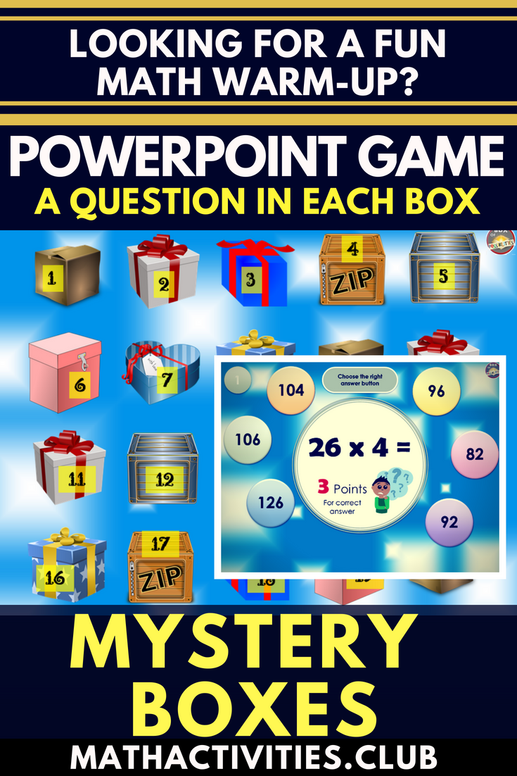 PowerPoint Math Warm-Up Game: Mystery Box | Math Activities: Grades ...