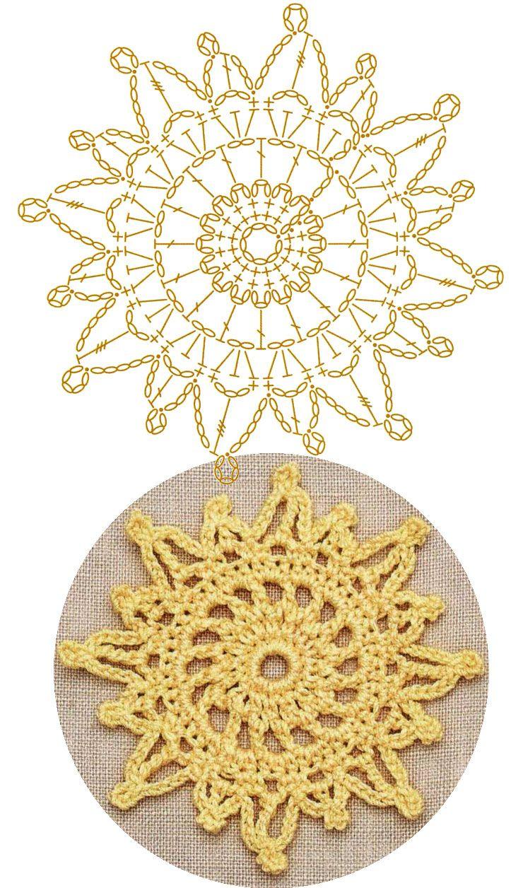 No.46 Sun Lace Crochet Motifs / 노란 햇살 모양 모티브도안 | Crochet ...