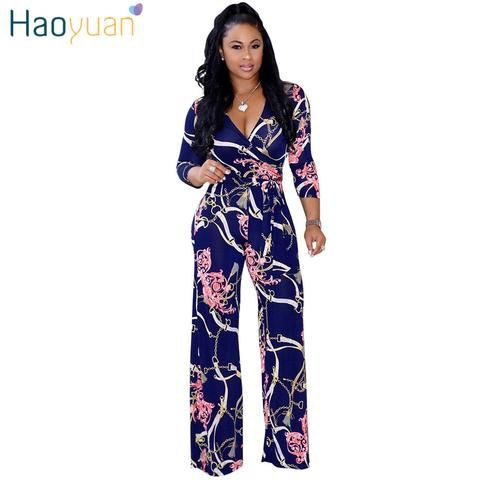 38cb8ad836f5 HAOYUAN Sexy Jumpsuits 2018 New Summer Overalls Deep-V Bodysuit Fitness Casual  Bodycon Spandex Long Pants Rompers Women Jumpsuit
