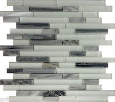 Sample Gray White Glass Natural Stone Linear Mosaic Tile Kitchen