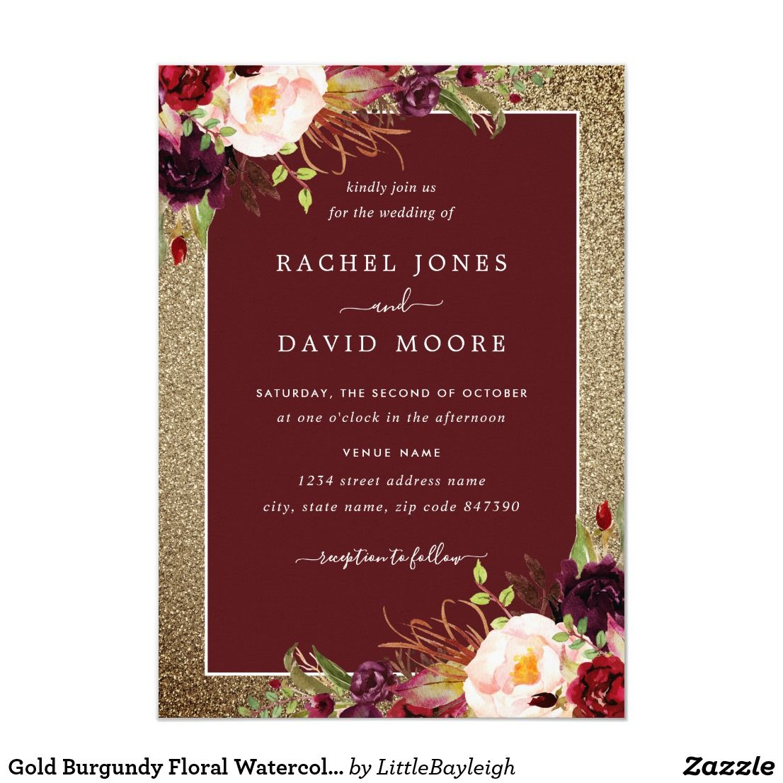 Gold Burgundy Floral Watercolor Wedding Invite