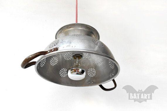 Bat Art Pendant Light Aluminium Vintage Colander By Batlab Fixtures Chandelier Candelabra