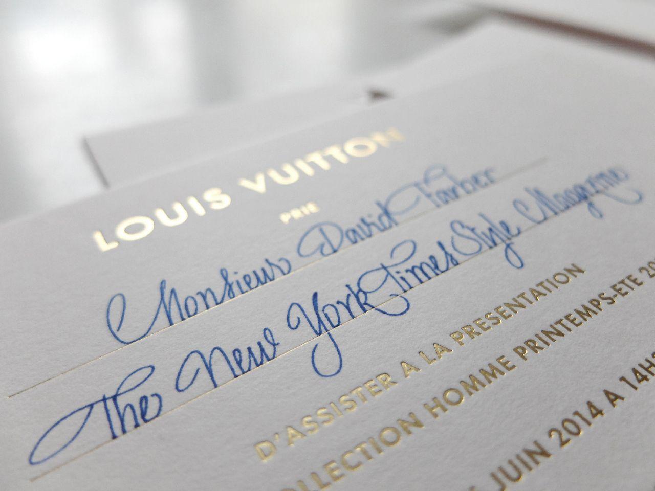 Sandie Le Chaix Calligraphie Invitation Louis Vuitton Defile 2015 12 Jpg Invitation Mariage Calligraphie