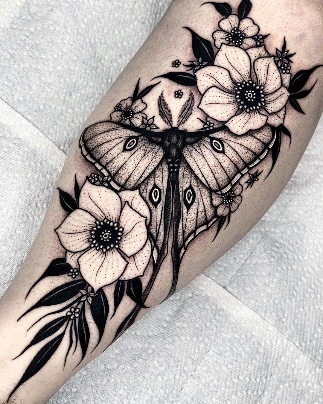 "Angelo Parente on Instagram: ""Luna Moth 🌙 . . . #blackwork #inkedmag #dotworker #lunamoth #mothtattoo #dotworktattoo #tattoosnob #btattooing #tttpublishing…"""