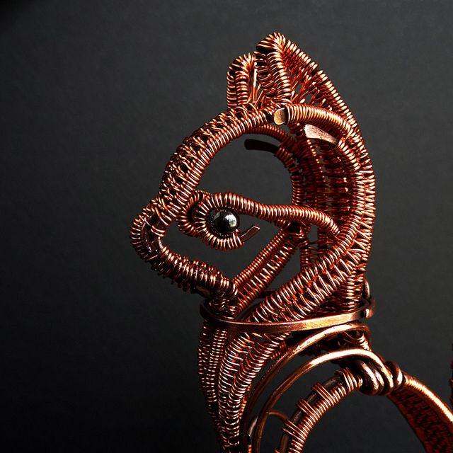 Copper Wire Cat Sculpture - head by Ruth Jensen, via Flickr