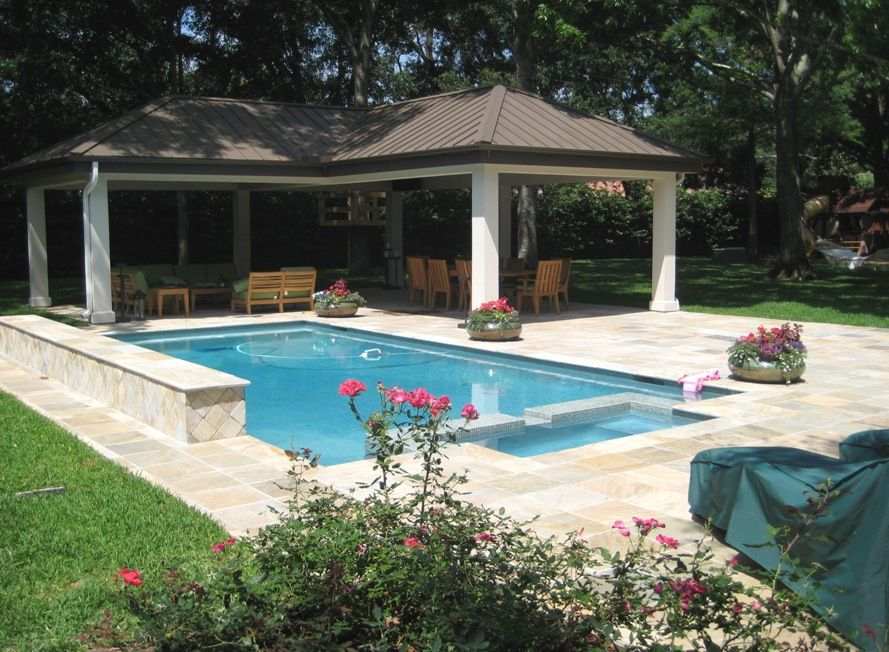 Custom Designed And Built Gazebo With Standing Seam Metal Roof Stucco Columns And Pool Remodel