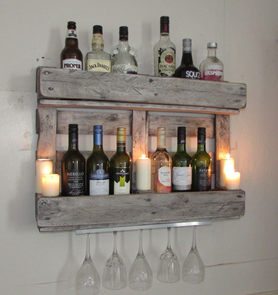 Wine Rack Mini Bar Rustic Shabby Chic Reclaimed Wood