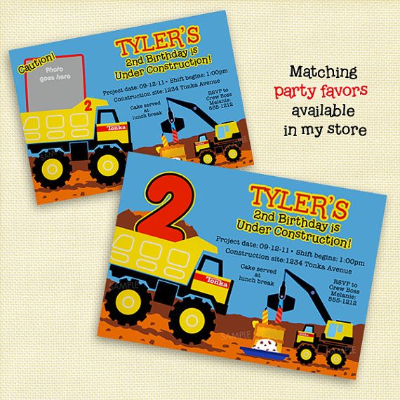 Tonka Truck Invitation for Construction by PoshberryParties, $12.99