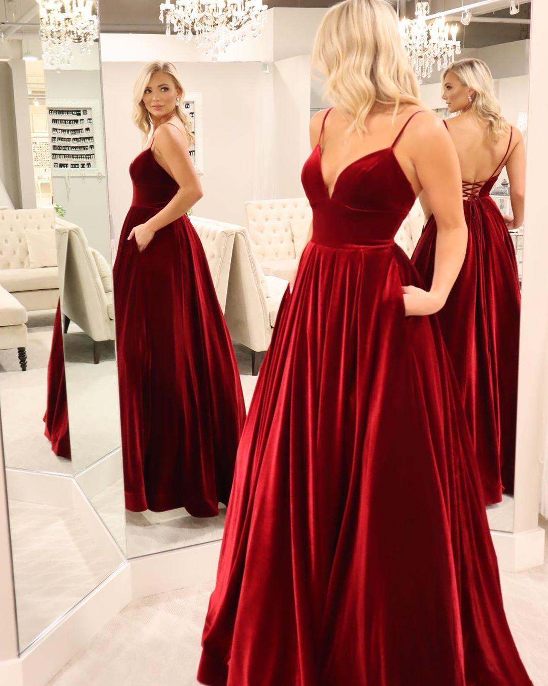 Straps Wine Red Velvet Long Prom Dress With Pockets Burgundy Prom Dress Velvet Evening Dress Prom Dresses With Pockets