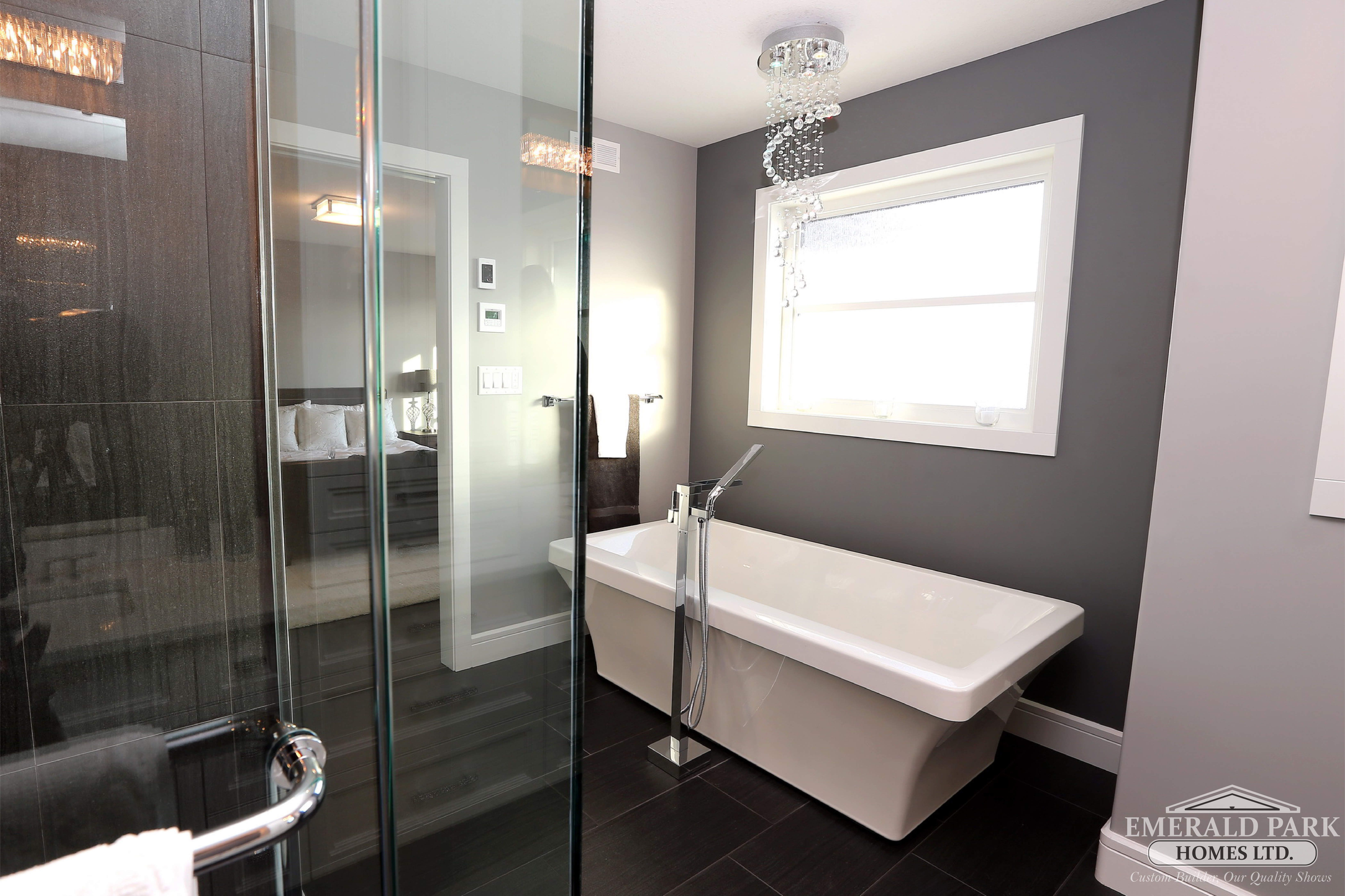 Spalike Master Ensuite With Freestanding Soaker Tub And Custom Glamorous Master Ensuite Bathroom Designs Inspiration