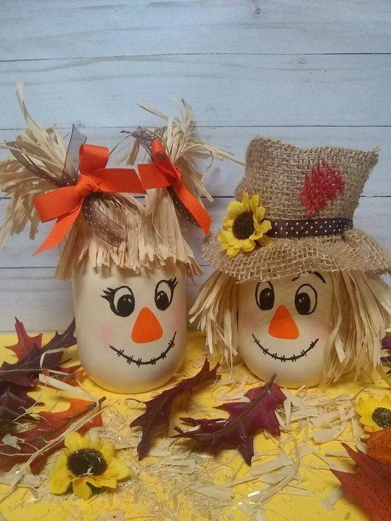 Scarecrow Mason Jar, Fall Decor, Fall Centerpiece, Scarecrow Decor, Fall Party, Halloween Decor, Fall Mason Jars, Scarecrow Couple #gartenimherbstdeko
