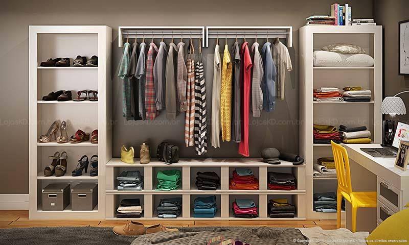 Armarios Casas Bahia De Aço ~ Quarto Closet com guarda roupa aberto Ideias pra casa Pinterest Quarto modulado, Modulados