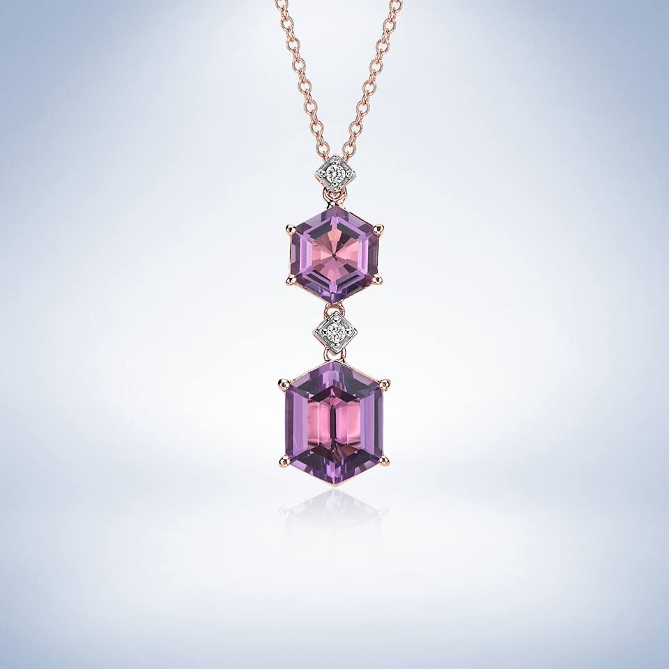 Amethyst Hexagon and Diamond Drop Pendant 14k Rose Gold
