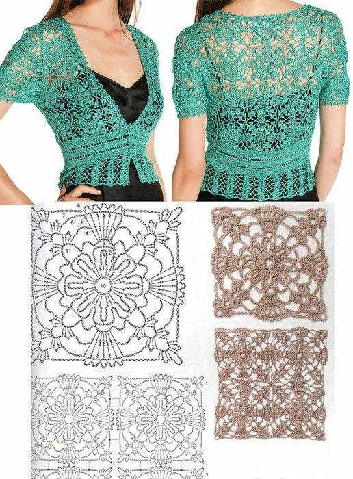 boleros-crochet (18) | Crochet | Pinterest | Boleros, Ganchillo y Blusas