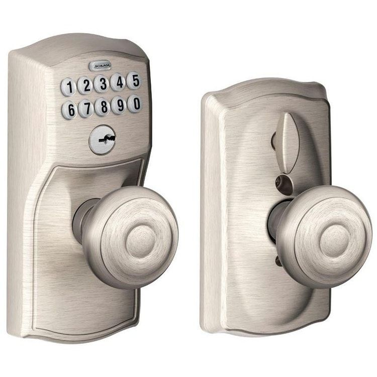 Schlage FE595CAM619GEO Camelot Keypad w/ Flex-Lock & Georgian Knob,Satin Nickel