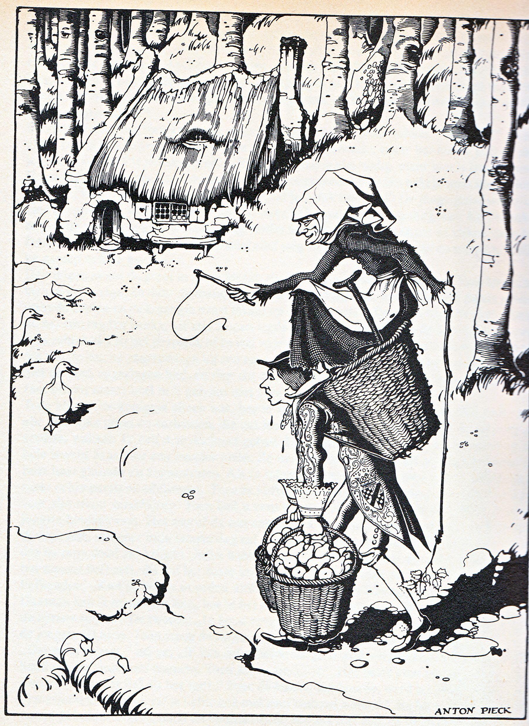 Anton Pieck Uit Grimm Het Ganzenhoedstertje Bij De Bron Grimm Sprookjes Sprookjes Sprookjes Van Grimm