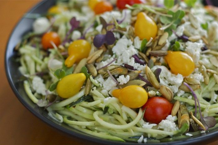 Tahini Zucchini Noodles with Pepitas, Feta and Sprouts