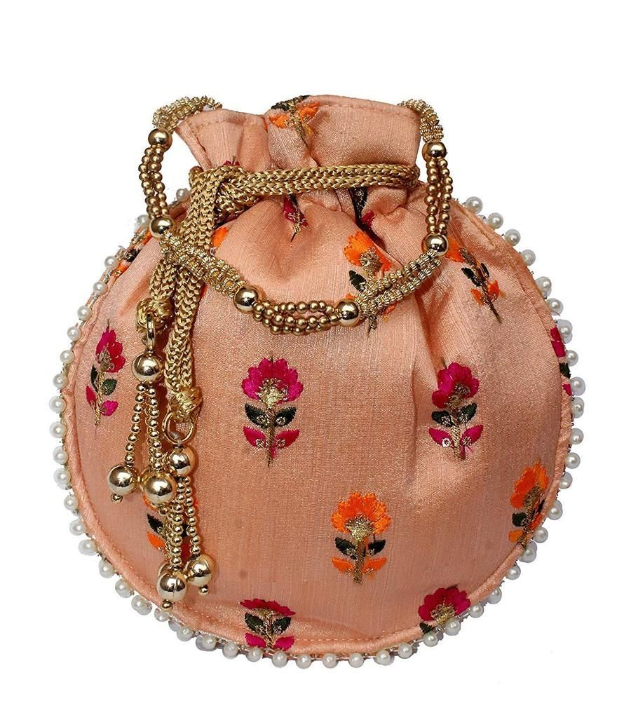 Indian Bag Clutch Purse Traditional Ethnic With Long Chain Accessories Fashion