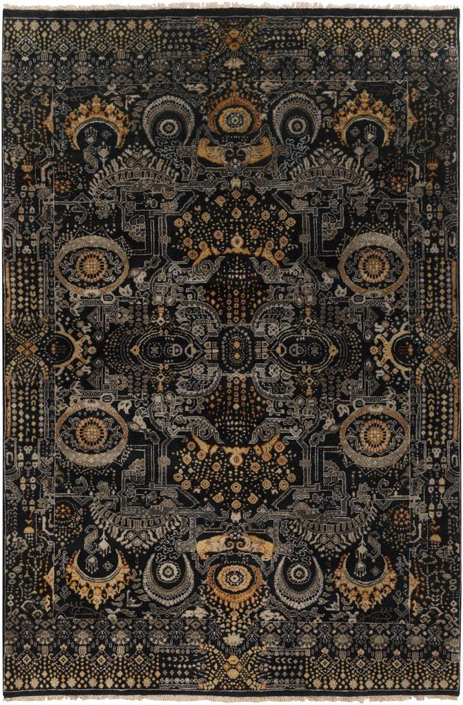 Empress Rug In Black Gold In 2020 Black Area Rugs Area Rugs Victorian Rugs