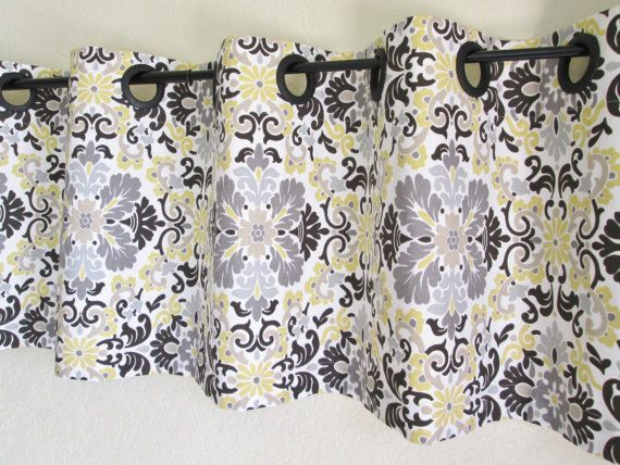 grommet valance 50 39 39 x16 39 39 waverly folk damask lemondrop grey tan yellow valances curtain window. Black Bedroom Furniture Sets. Home Design Ideas