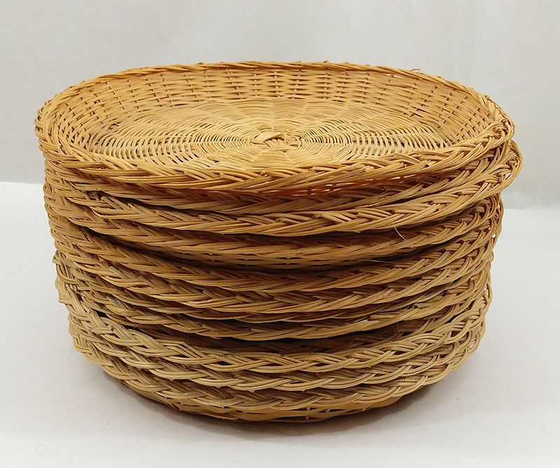 Wicker Paper Plate Holders Set of 12 Rattan Bamboo Picnic Barbeque Supply #Unbranded : wicker paper plate holders - Pezcame.Com