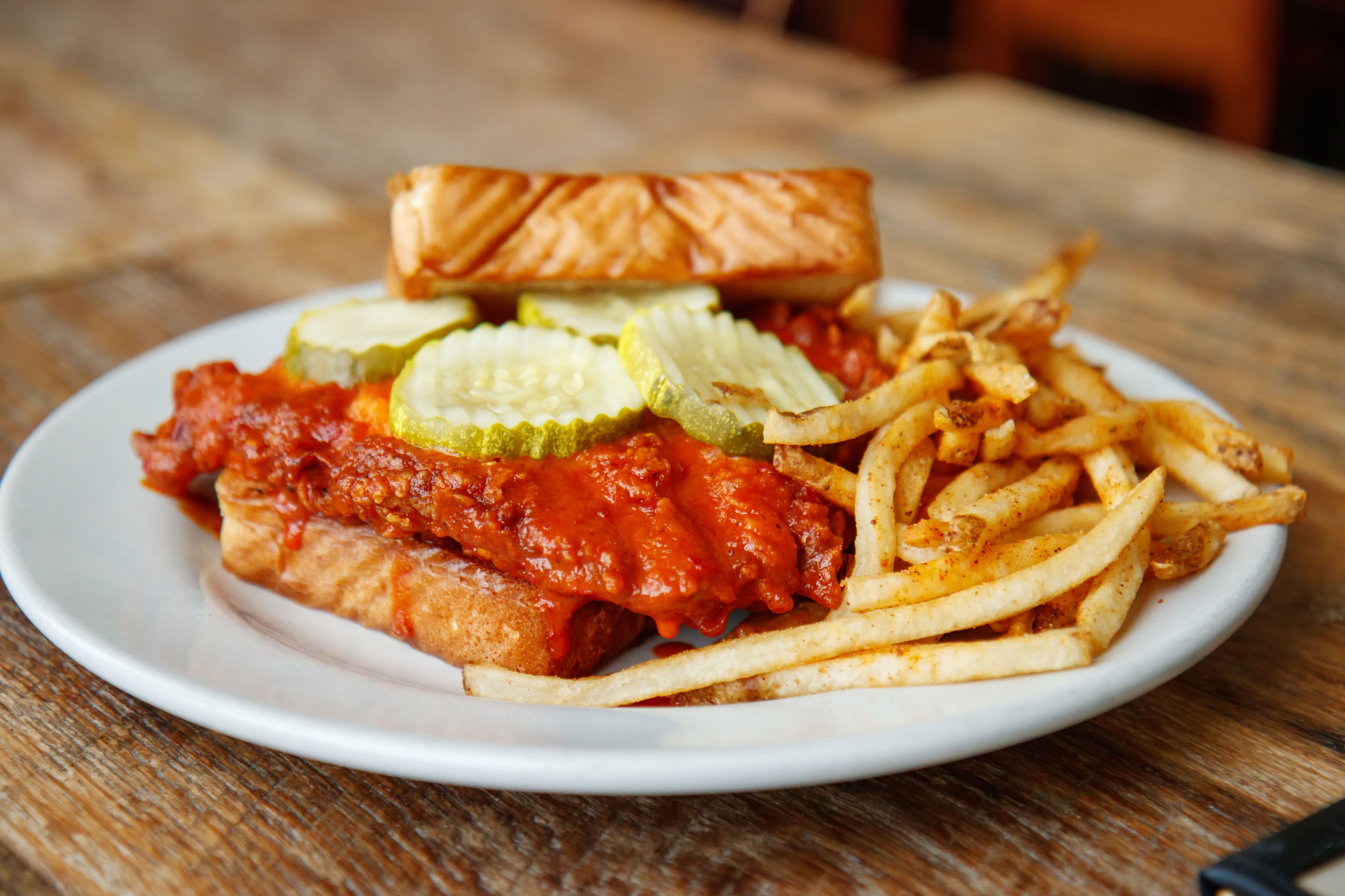 Our Music City Hot Chicken Sandwich Goes Great With A Side Of Fries And An Ice Cold Glass Of S Sweet Potato Pancakes Hot Chicken Sandwiches Cajun Fried Chicken
