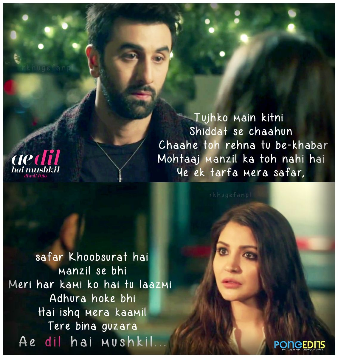 Ae Dil Hai Mushkil Dialogue In English Ranbir Kapoor Anushka Sharma Ae Dil Hai Mushkil Love Song Quotes Romantic Song Lyrics Song Lyric Quotes