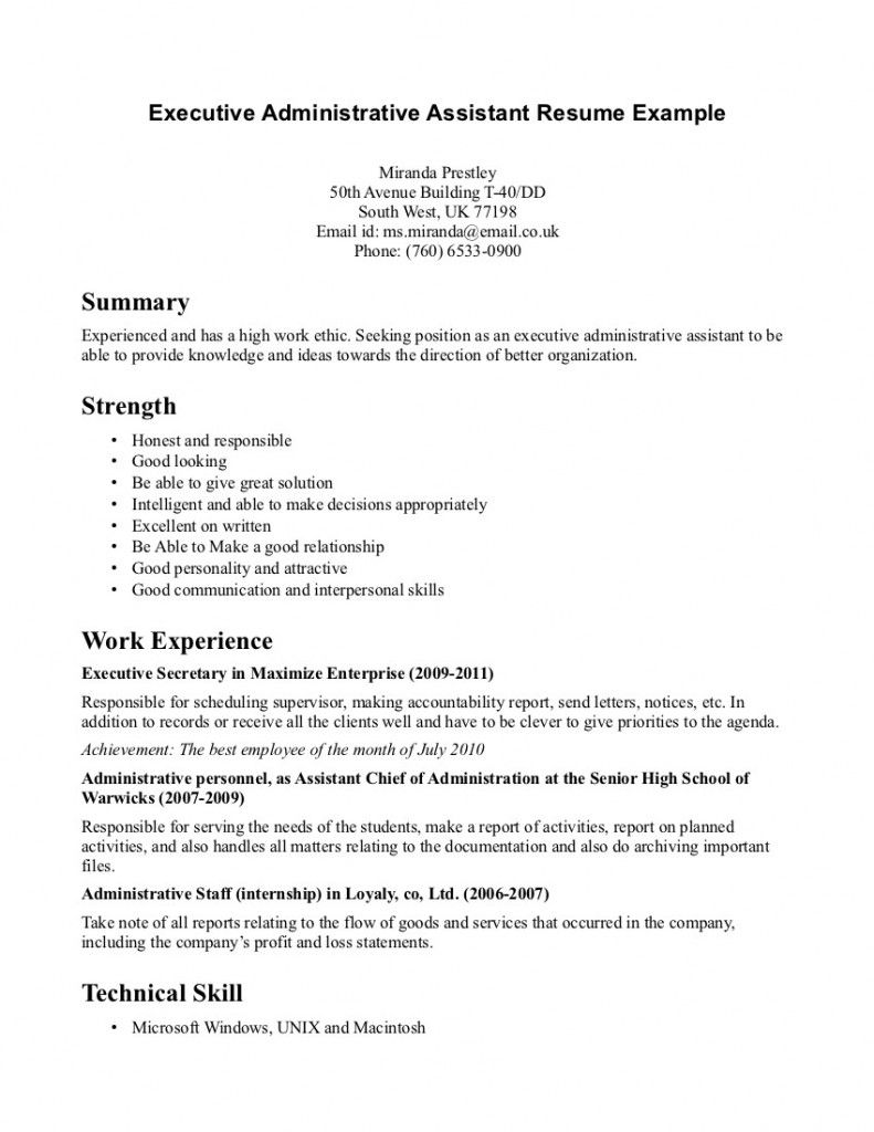 Resume Objective For Administrative Assistant Executive Administrative Assistant Resume Example  Resume Samples
