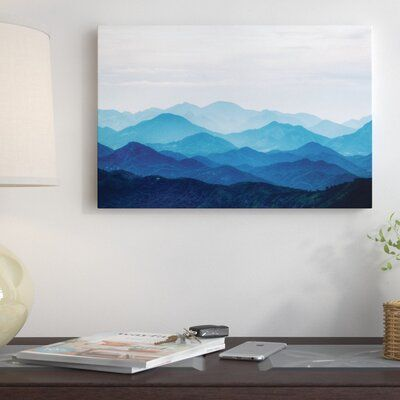 East Urban Home Blue Mountains Photographic Print On Canvas Size 26 H X 40 W X 0 75 D Mountain Painting Acrylic Canvas Painting Diy Blue Painting